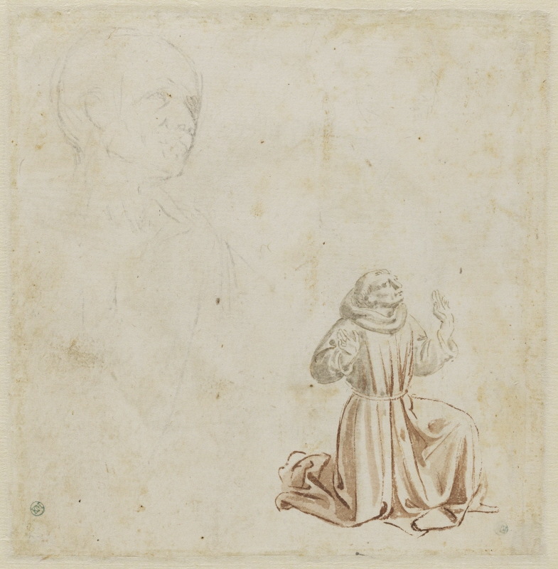 St Francis kneeling to recieve the stigmata and a study of a head