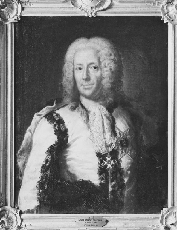 Lars Benzelstierna (1680-1755), mineralogist, mining councillor, governor, married to 1. Hedvig Swedenborg, 2. Catharina Insenstierna