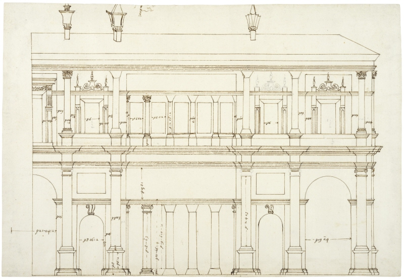 Villa Giulia, Rome. Elevation of the semi-circular court facade, the right half