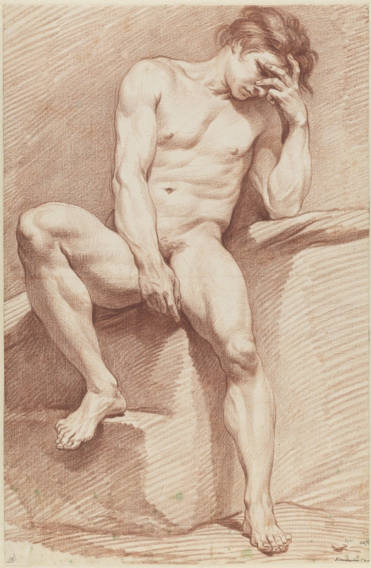 Study of a Seated Male Model, in Full-Length and Facing Forward