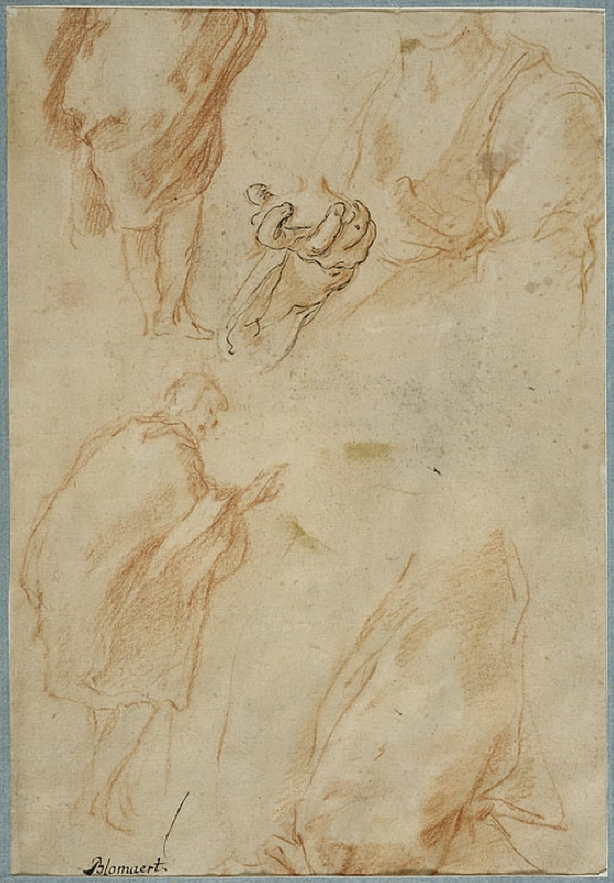 Study of a man draped in a cloak, seen from behind, and the bust of a woman holding an object