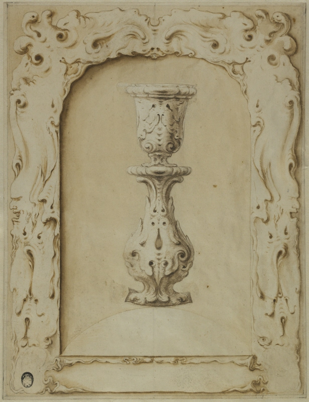 Design for a Frame or Niche and a Candlestick