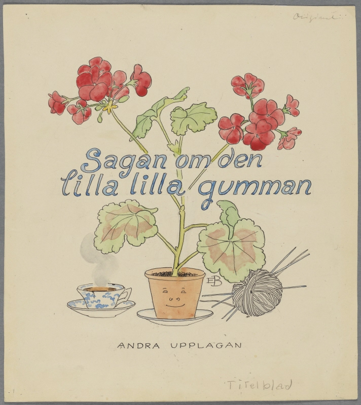 """The Tale of the Little, Little Old Woman"", Title page for the second Swedish edition 1909, reused in the reworked Swedish edition 1950"