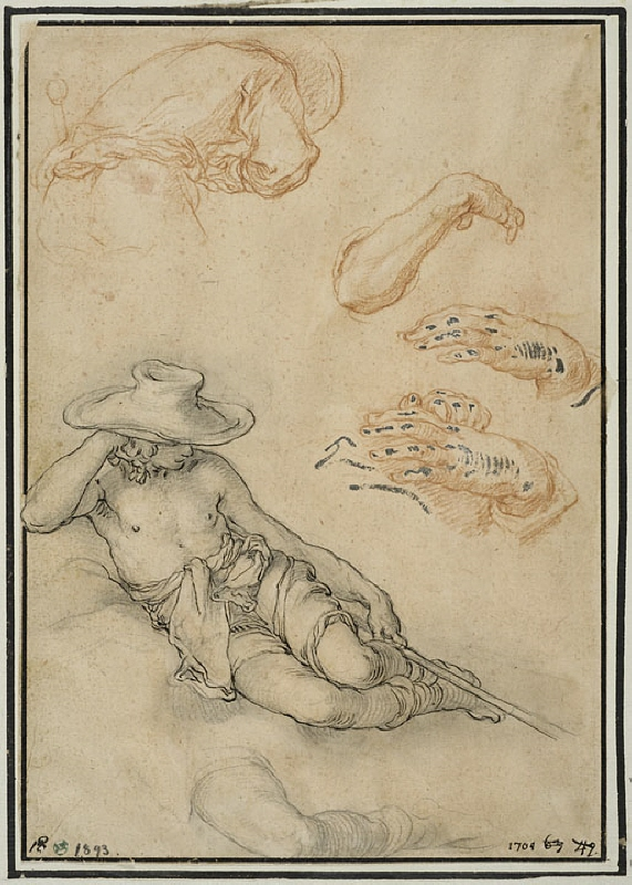 A Resting Shepherd, Separate Studies of his Leg and Arm, a Man Seen from the Back, and Two Hands