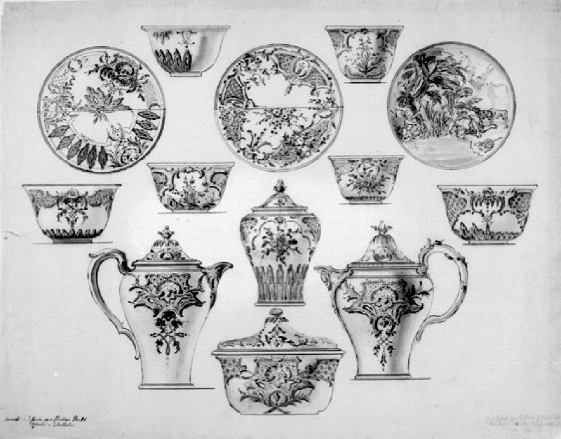 Design for a porcelain service with rococo decoration