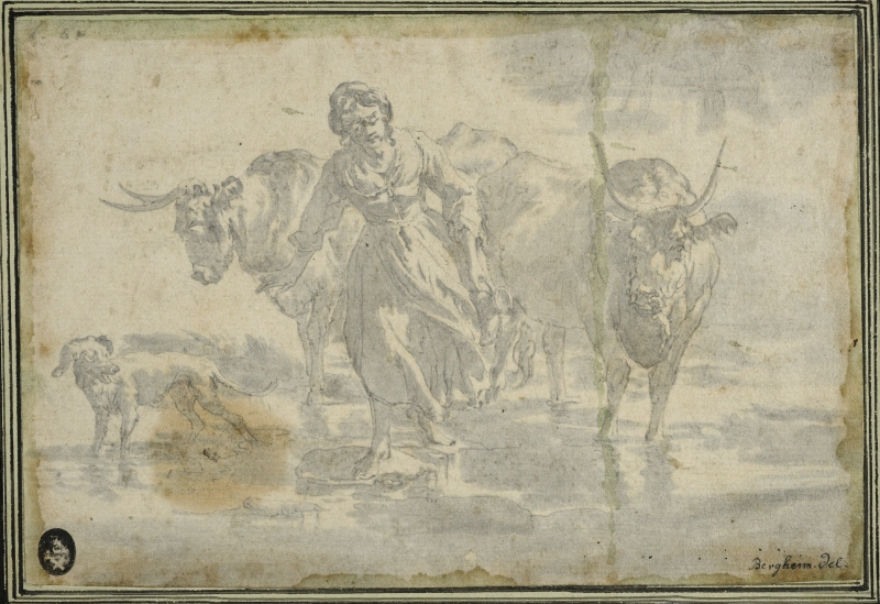 Woman and Two Cows at a Ford