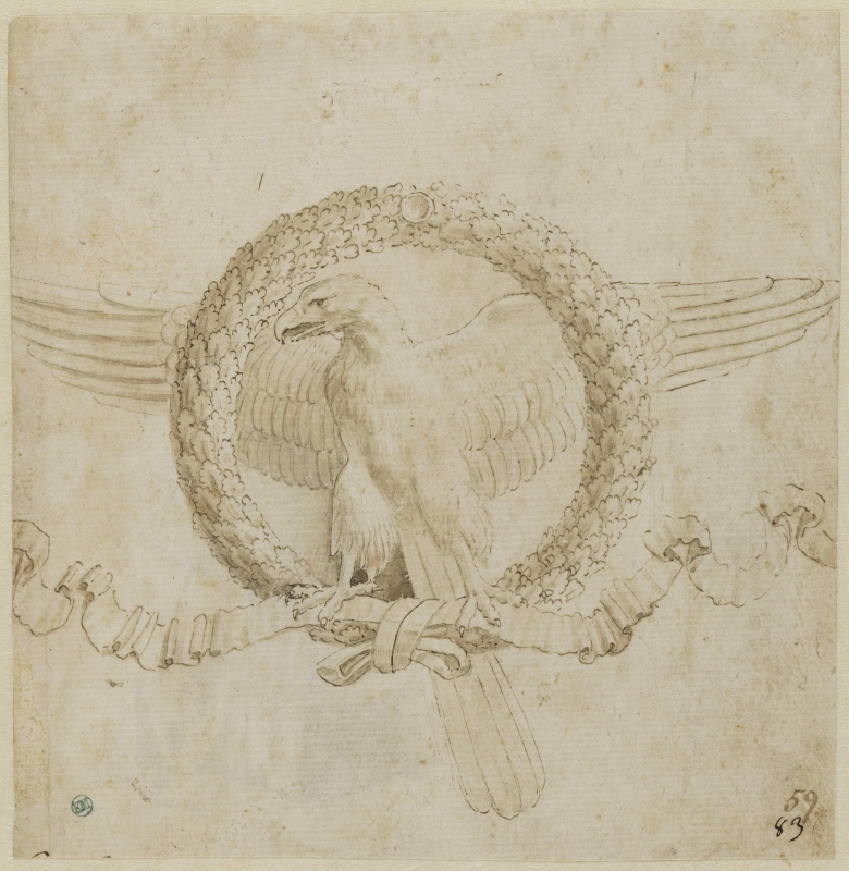 Eagle in a wreathe of oak leaves