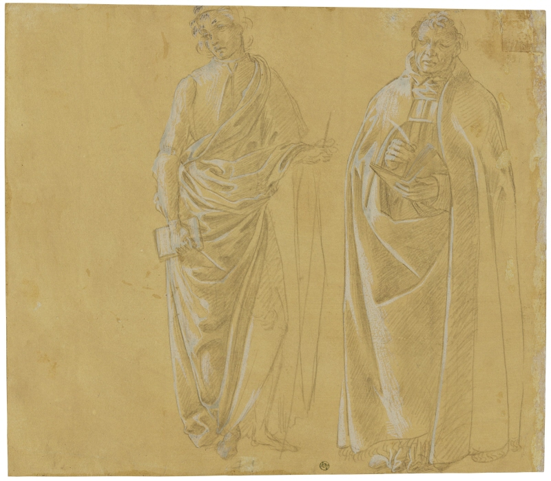 Two draped men standing