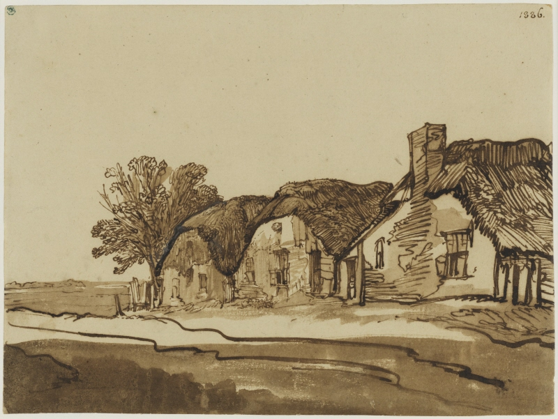 Three cottages by a road