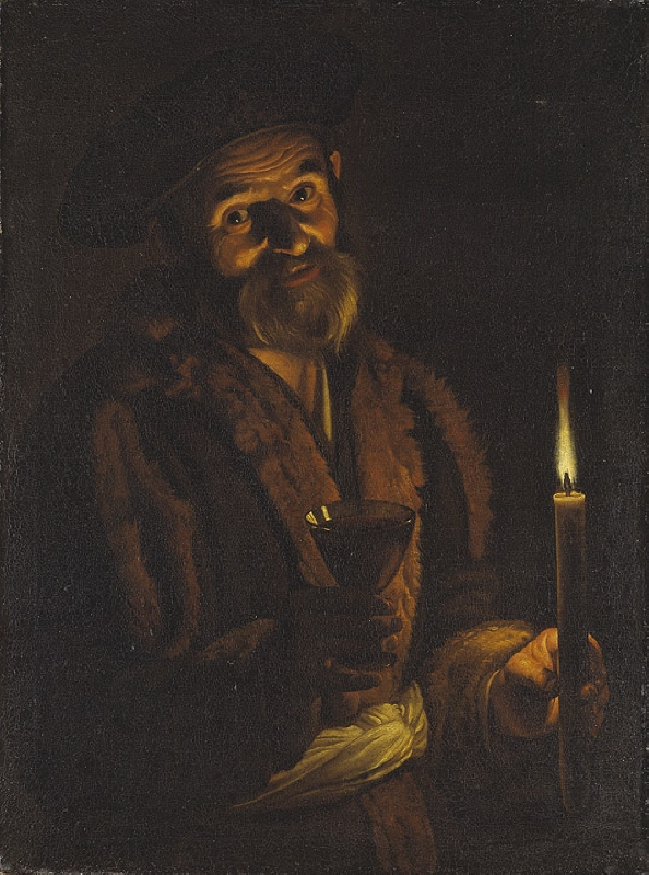Old Man Holding a Candle and a Glass