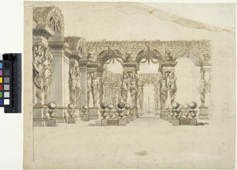 Decor for Theatre. Garden with a pergola carried by caryatids
