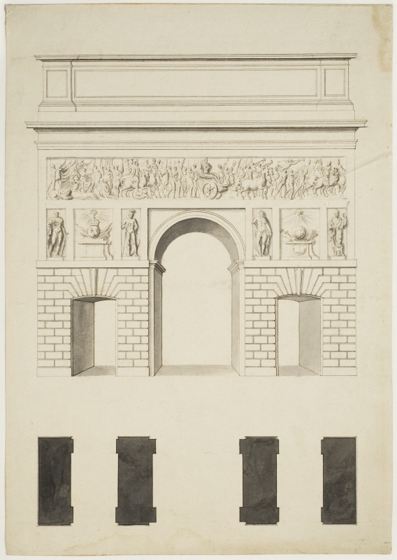 Design for a Town Gate in Paris, Presumably Porte Saint-Martin. Elevation and plan