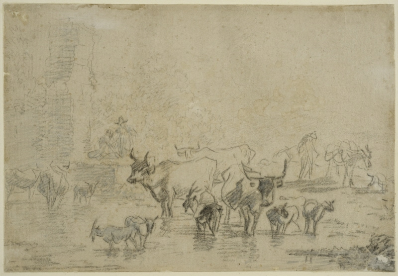 A Herd of Animals in a Pond near some Ruins