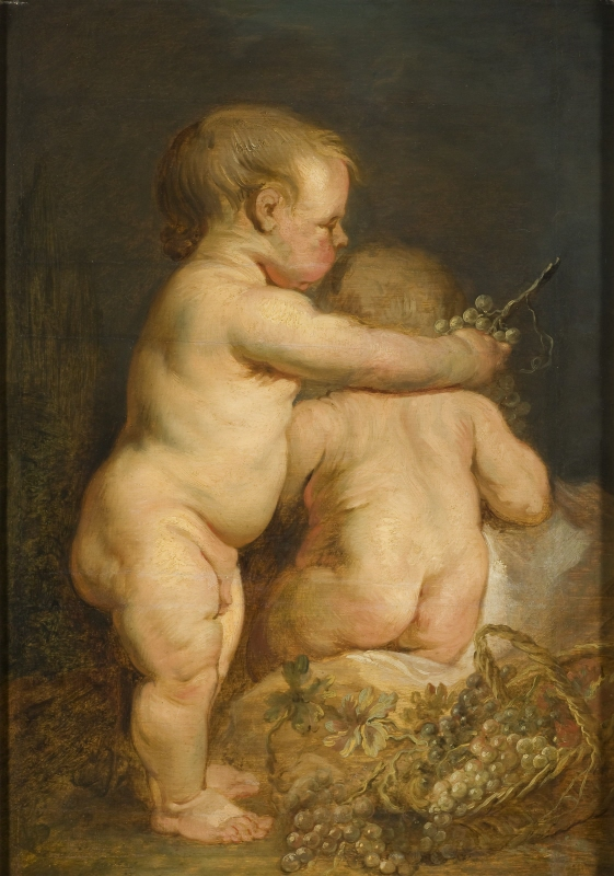 Two Nude Children with a Basket of Grapes