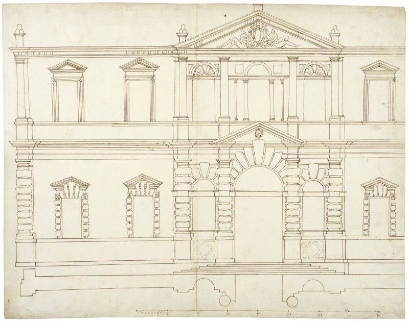 Villa Giulia, Rome. Project for the main facade, elevation and plan. Never executed project with pediments and string-courses