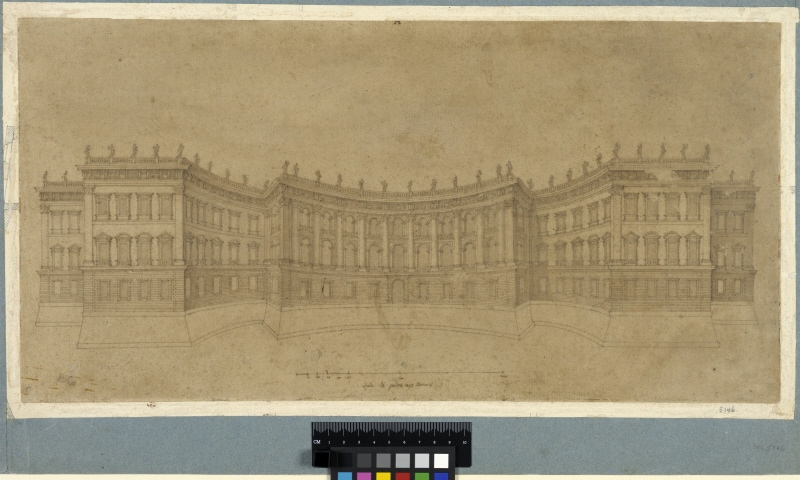 Design for the east facade of the Louvre, elevation, second scheme, Paris