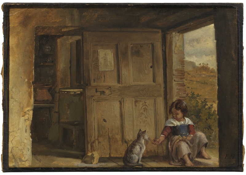 Interior from the Roman Campagna with a Girl and a Cat.