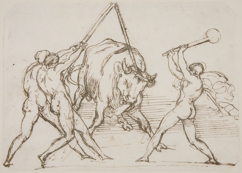 Three Men Taunting a Bull