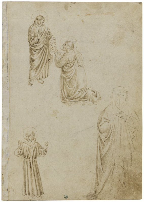 Christ Giving the Keys to St Peter. S. Francisco and a Female Saint