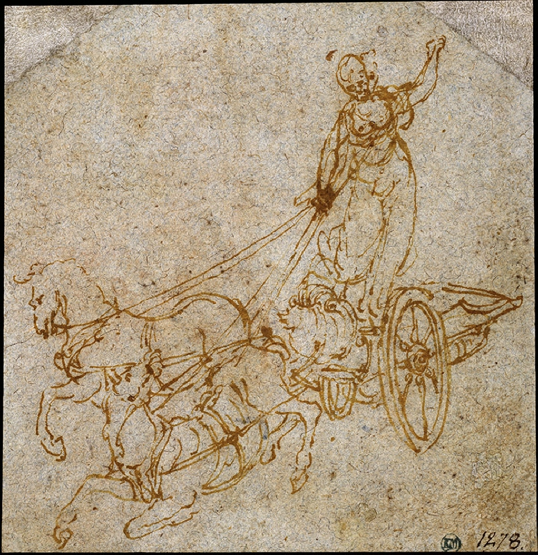 Goddess Standing in a Chariot Drawn by Two Horses, of Which One is Falling