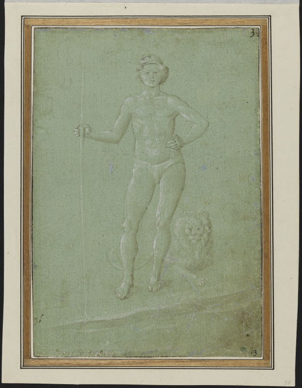 Nude young man holding a staff, a lion at his feet