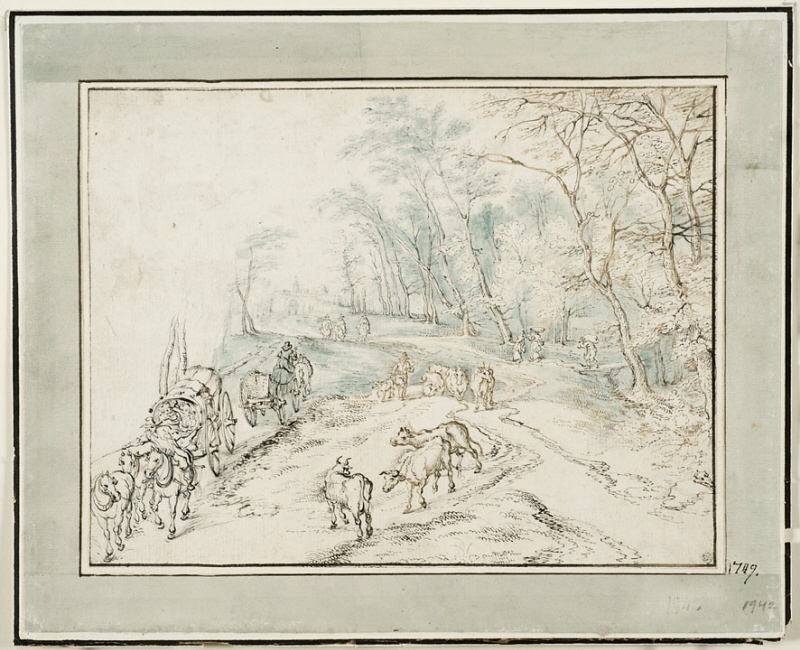 A Woodland Road with Travellers, Herdsmen and CattleEngelsk titel