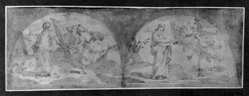 Study for two lunettes with stories of St. Peter: The calling of St. Peter, St. Peter walking on water