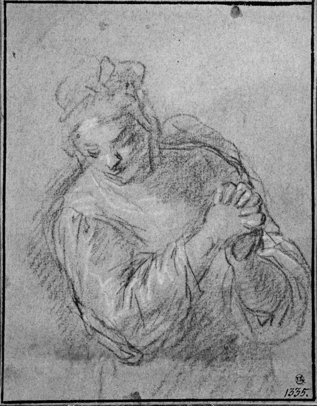 Woman with Clasped Hands, Semi-profile Right