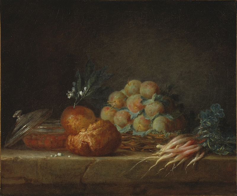 Still Life with Brioche, Fruit and Vegetables