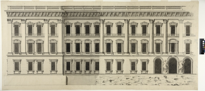 Drawing of Bernini's model for the fourth Louvre project. Elevation of the east facade