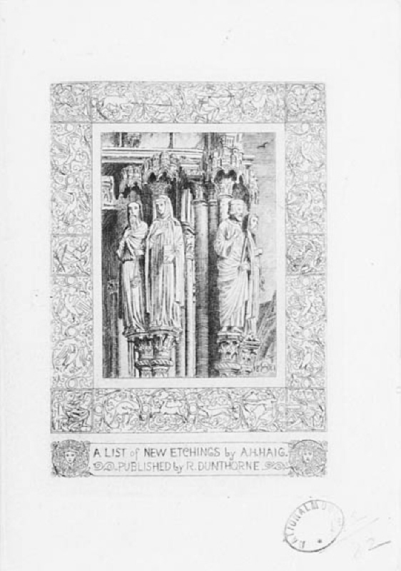 "Omslagsvinjett till ""A list of new etchings of the Cathedral Church of Chartres"""