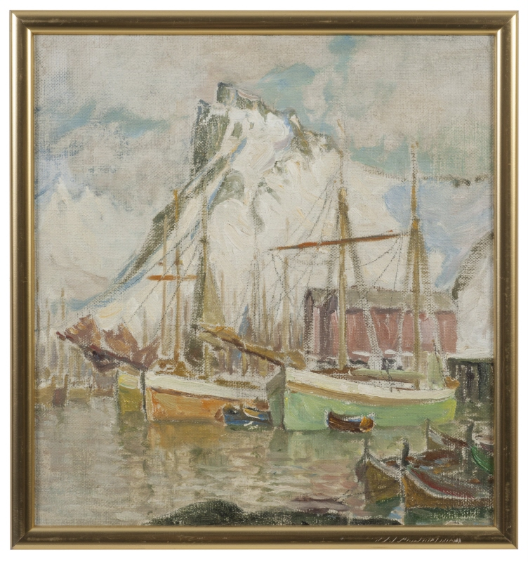 In the Harbour, Svolvaer. Study from Lofoten