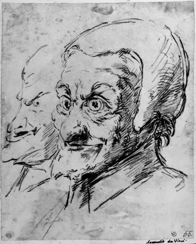 Two grotesque male heads