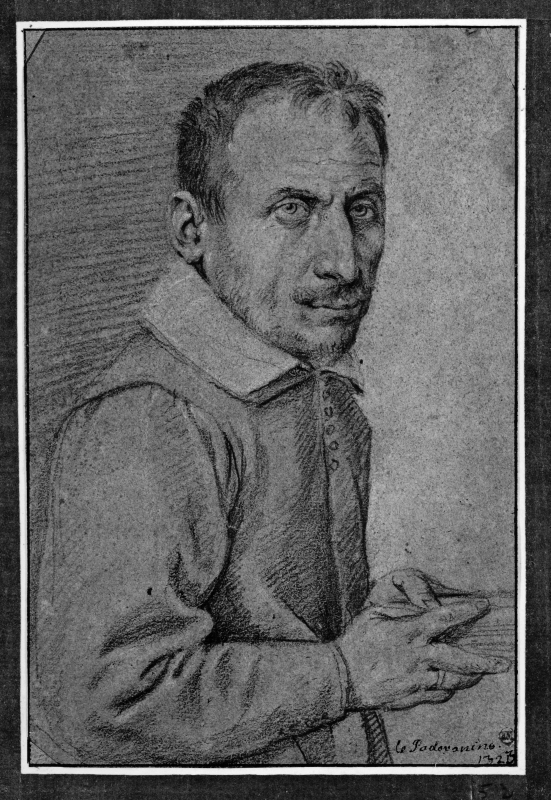 Portrait of a man turned to the right. Holding a book