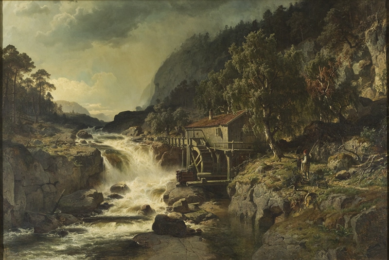 Rocky Landscape with Waterfall and Watermill, Småland