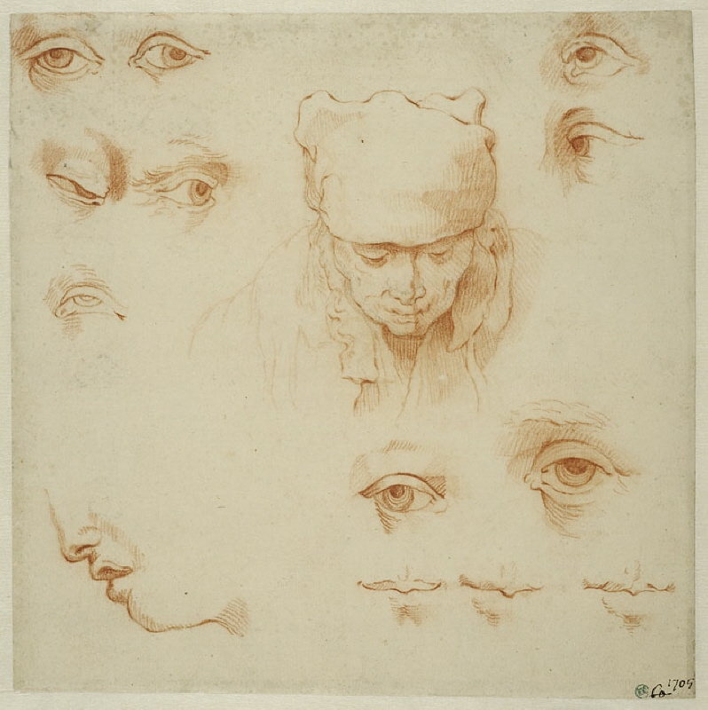 Head of an Old Woman, and Studies of Eyes and Mouths