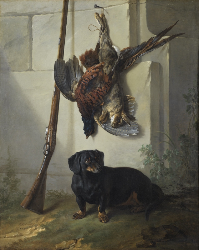 The Dachshound Pehr with Dead Game and a Rifle