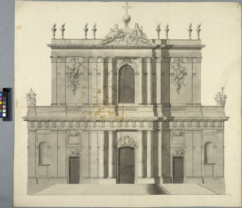 Church, Possibly Église de la Merci in Paris. Elevation of main facade