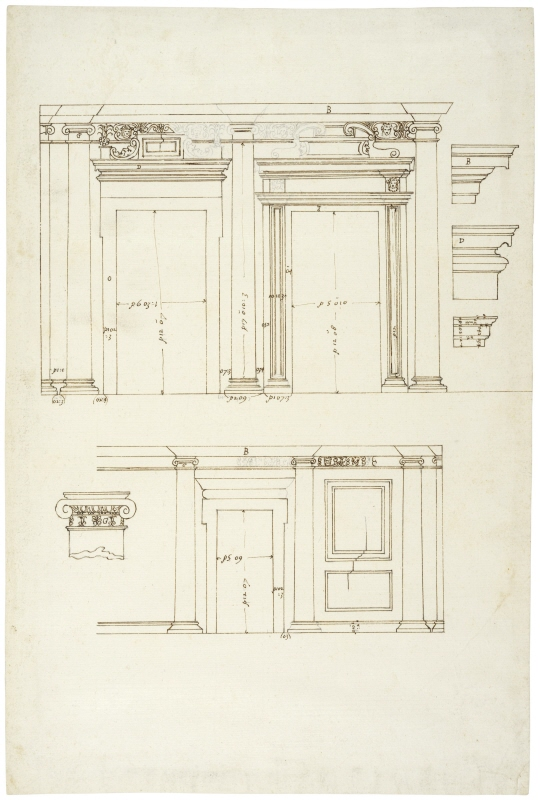 Villa Giulia, Rome. Wall elevations with doorways from the loggia, with details