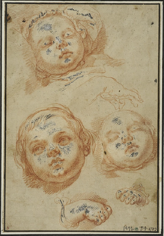Studies of the Head and Hands of an Infant Child