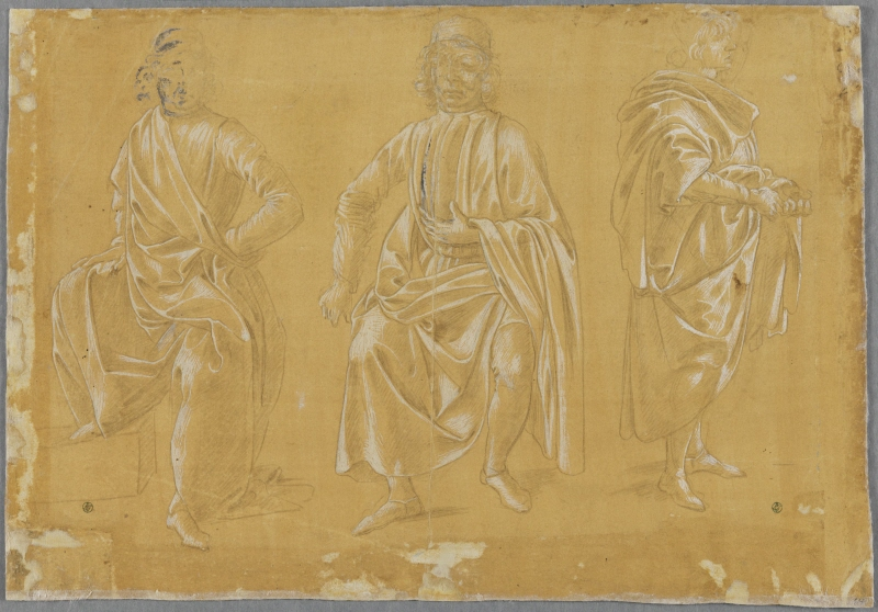 Two draped men sitting, one standing