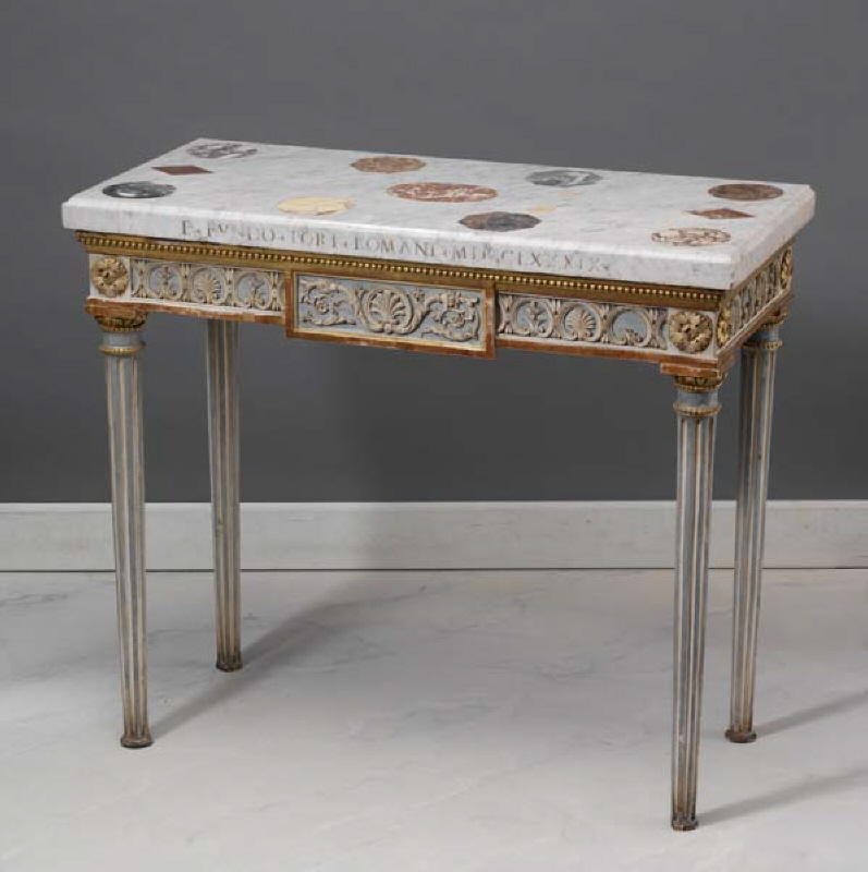 Wall Table with Tabletop of Marble Specimens from Forum Romanum