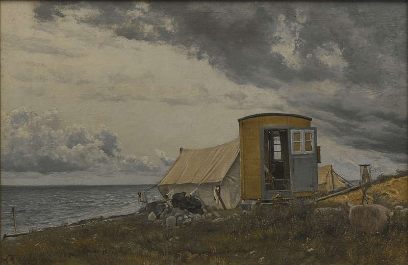 View of a Shore with the Artist's Wagon and Tent at Enö