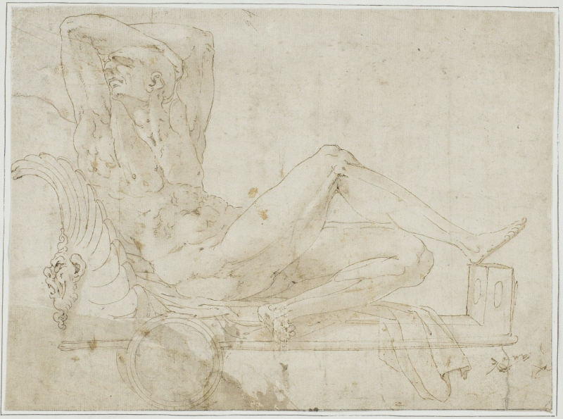 Naked Old Man Resting on a Chariot