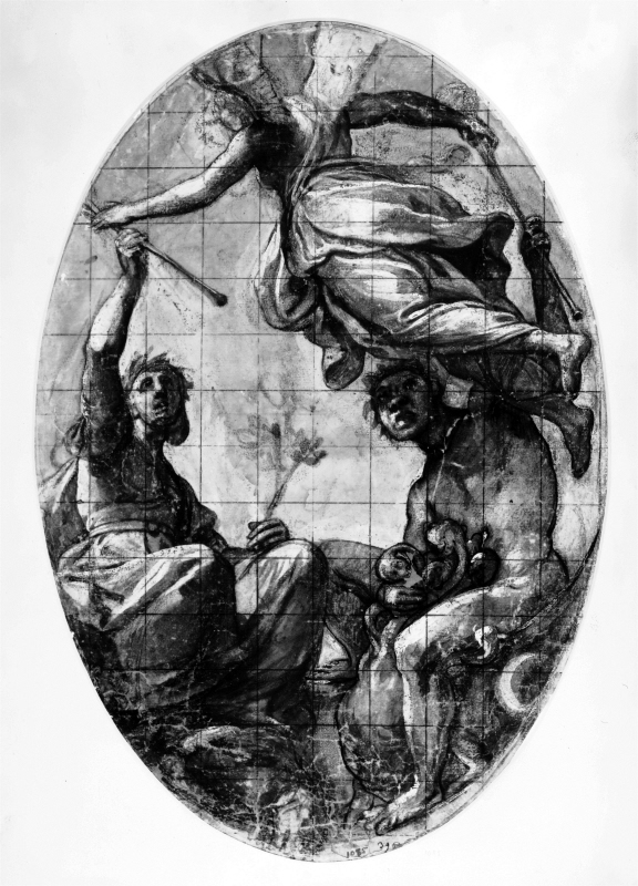 Study for an allegory with Fame, a female and a male figure with torches in their hands
