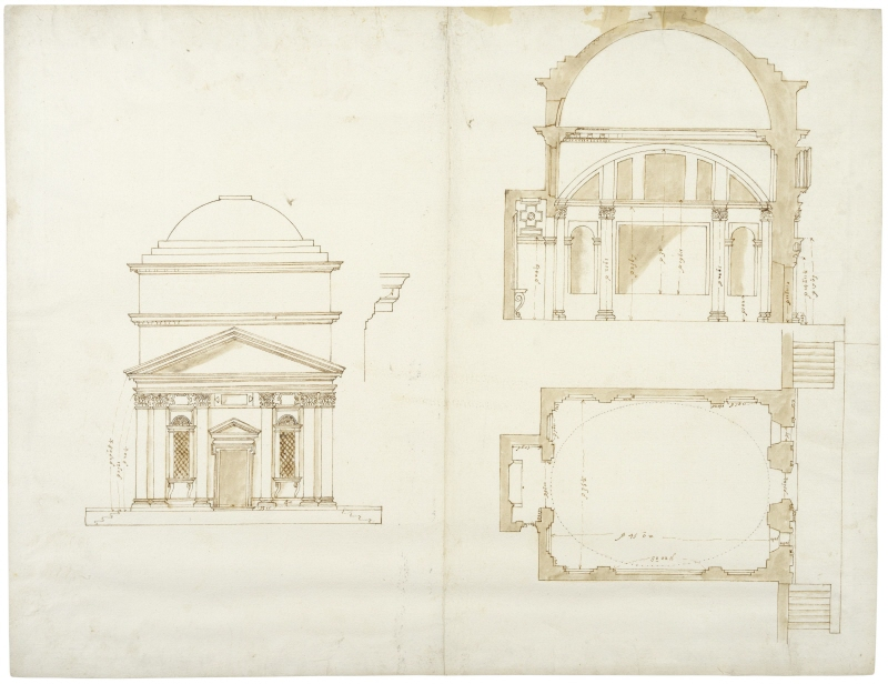 S. Andrea in Via Flaminia, Rome. Front elevation, plan, longitudinal section and profile of cornice