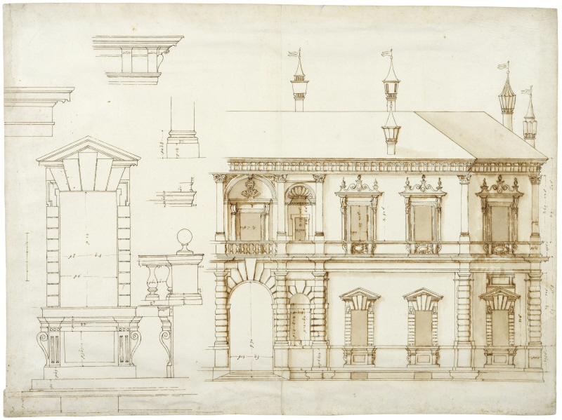 Villa Giulia, Rome. Elevation of the main facade, the right half. To the left decorative details of windows, a balustrade, the base of a column and mouldings