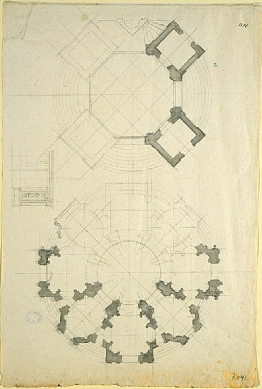 Project for the Bourbon-mausoleum at Saint-Denis, Paris: two alternative plans and one elevation